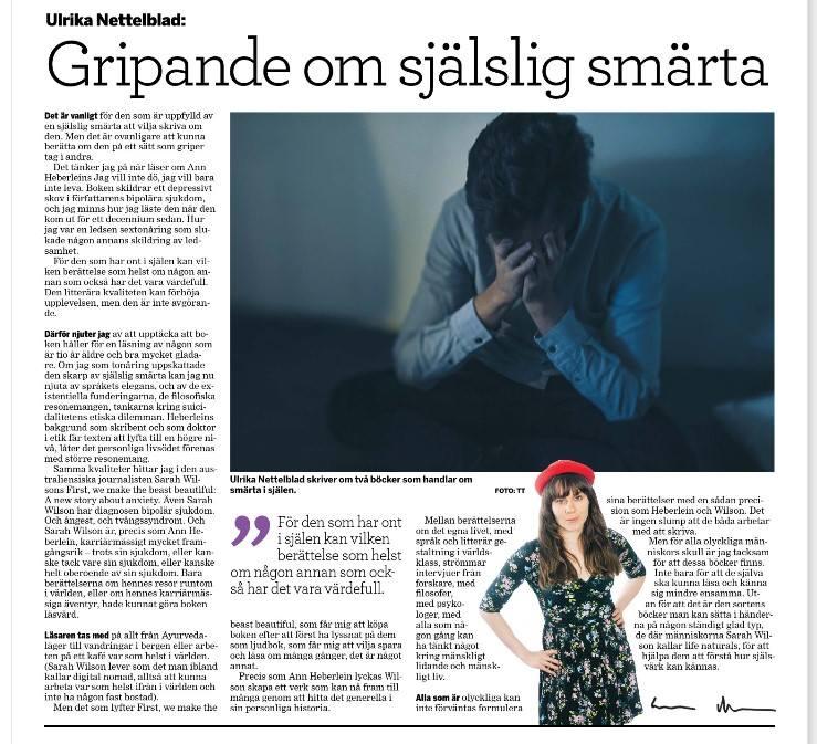 Krönika av Ulrika Nettelblad Västerbottens Folkblad, om Ann Heberlein och Sarah Wilson