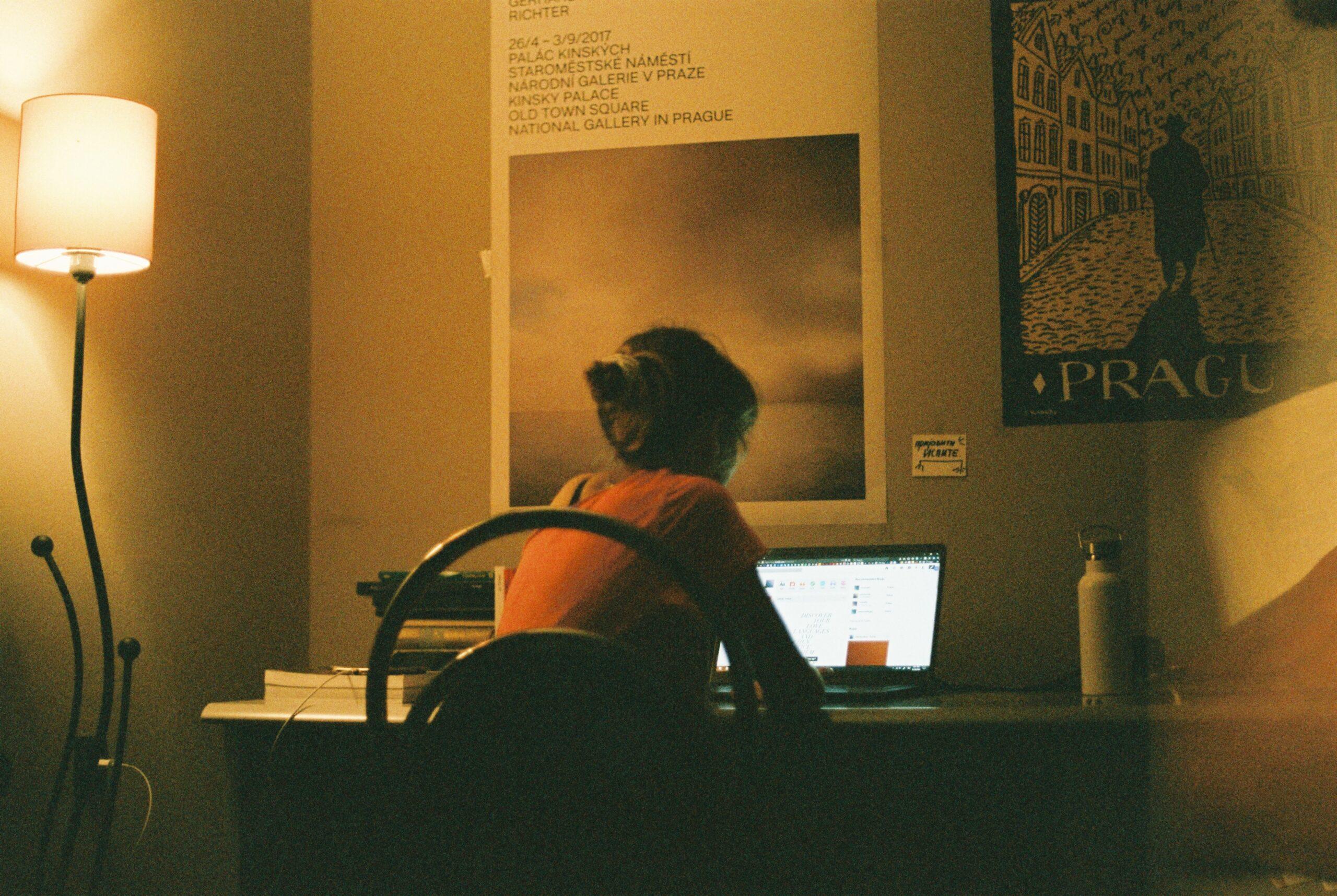 Ung kvinna vid dator, bloggar