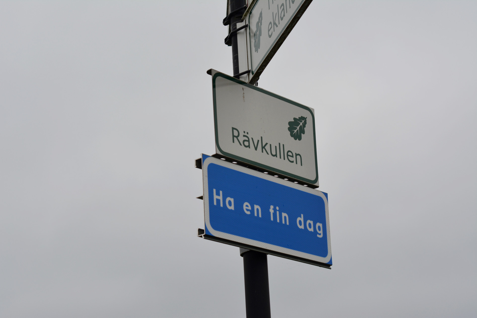 Vägskylt av Rävkullen i Linköping.