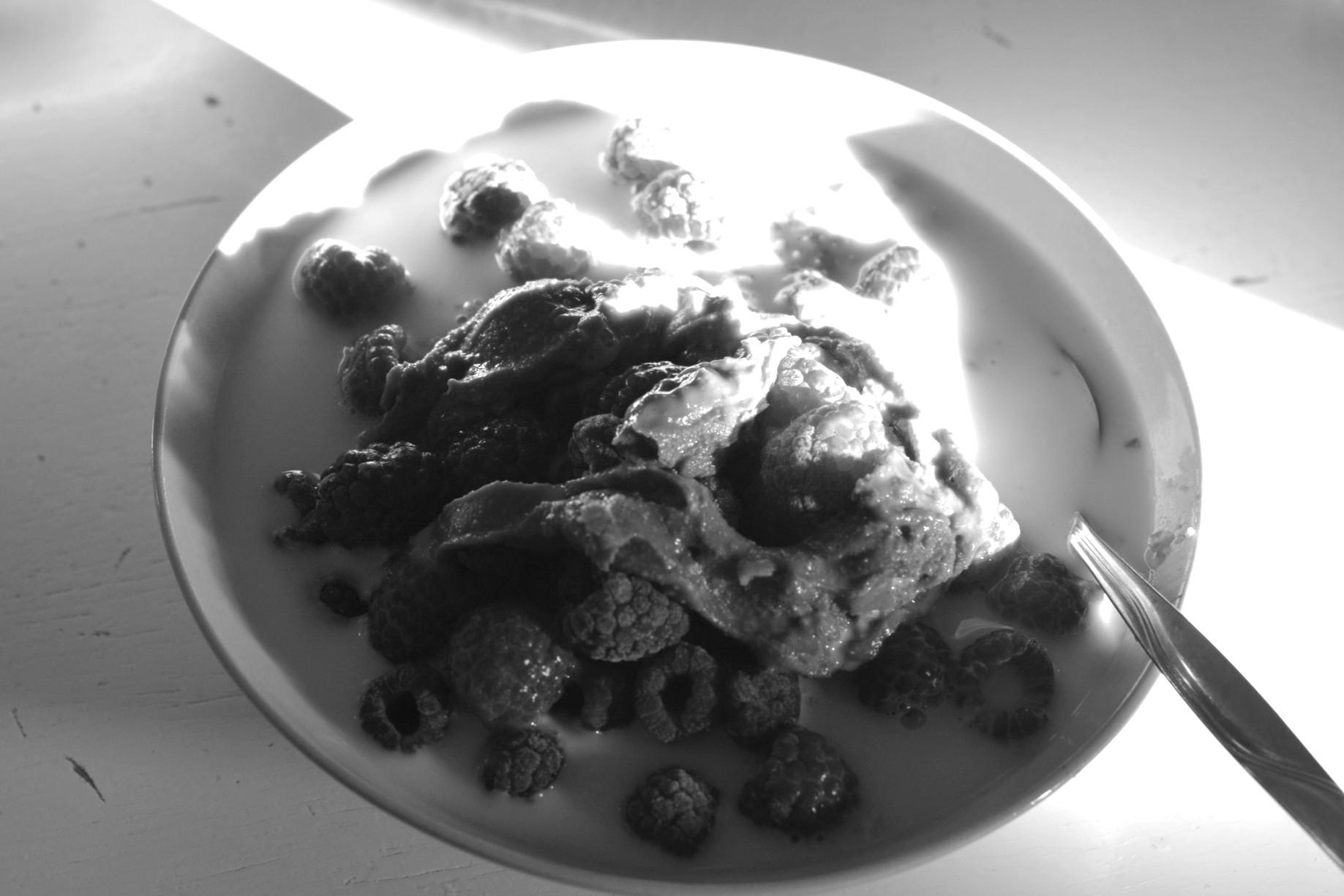 Havregrynsgröt med frysta hallon, mjölk och jordnötssmör. Svartvit bild.